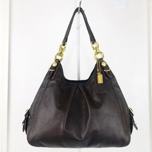 Coach Maggie Brown Leather Mia Hobo Shoulder Bag